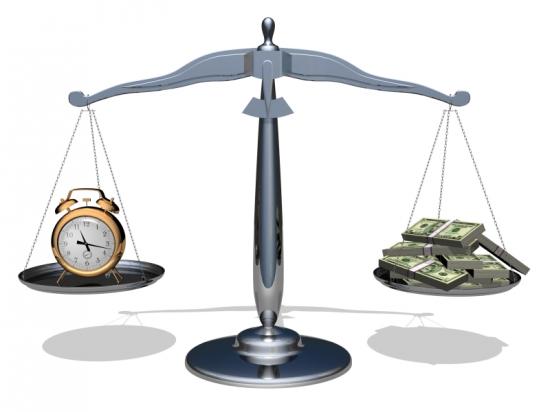 на весах деньги и время